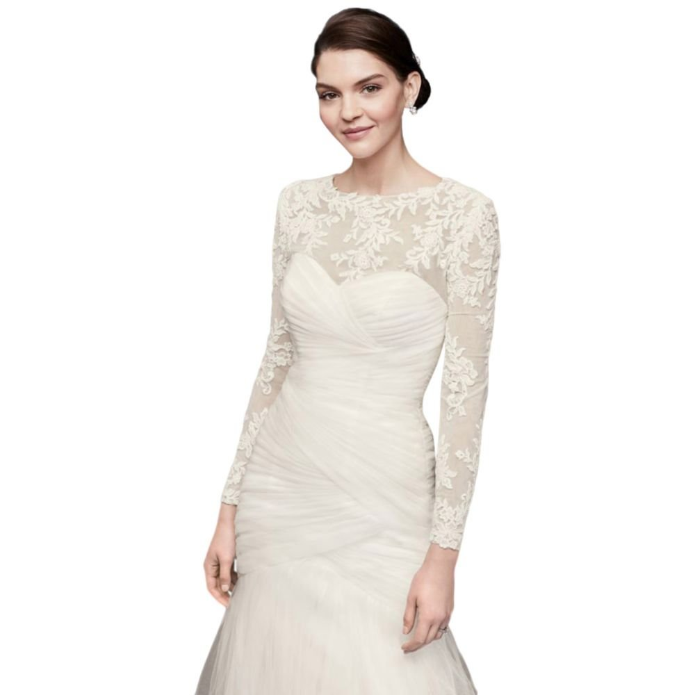 David's Bridal Embroidered Lace Long-Sleeve Dress Topper Style OW2006, Ivory, 18