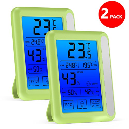 Houswill™ 2 Pack Digital Hygrometer Indoor Thermometer Humidity Gauge Monitor with Jumbo Touchscreen and Backlight Temperature Humidity Monitor for Kids, Home, Car, Office, Etc by houswill