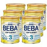 Nestlé BEBA Optipro 3 Folgemilch, ab dem 10. Monat, 6er Pack (6 x 800 g), Pulver, wiederverschließbar mit praktischer Löffelablage, 800 g Dose