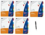 Avery WorkSaver Big Tab Insertable Dividers, 9 x 11 inches, Laser/Inkjet, Assorted Colors, 8-Tab Set, 1 Set (11222), 5 Packs - Bundle Includes Plexon Ballpoint Pen