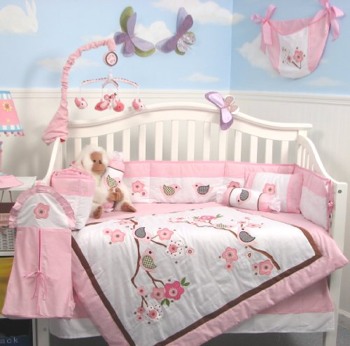 Baby Girl Crib Bedding Sets - SoHo Love Birds Story Baby Crib Nursery Bedding Set 13 pcs Included Diaper Bag with Accessories