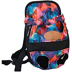Breathable Pet Dog Carrier Backpack - Pet Front Carrier Bag Head and Leg Out Portable Convenient Lightweight,Airline Pet Carrier Small Medium Cat Dog Bag,Colorful,M