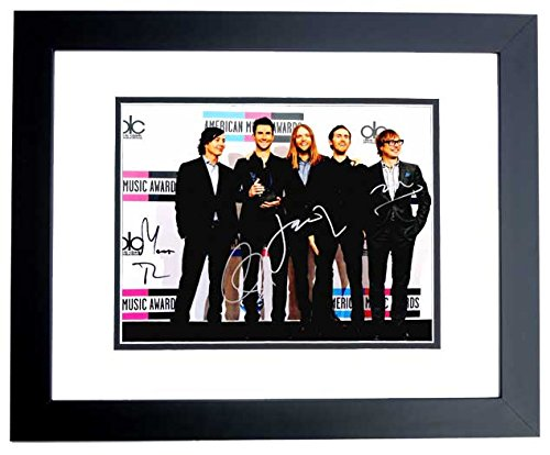 Maroon 5 - Adam Levine, James Valentine, Matt Flynn, Jesse Carmichael, and Mickey Madden Signed - Autographed 11x14 inch Photo - BLACK CUSTOM FRAME - RARE Complete Group