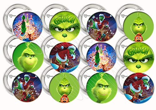 "The Grinch Buttons Party Favors Supplies Decorations Collectible Metal Pinback Buttons Pins - Large 2.25"" -12 pcs who Stole Christmas, Whoville, Dog Max, Cindy Lou Who"