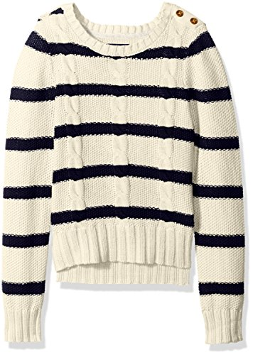 Nautica Big Girls Striped Seed Stitch Sweater with Cable Knit Detail, Cream, 10
