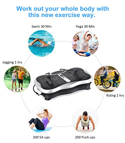 iDeer Vibration Platform Fitness Vibration Plates,Whole Body Vibration Exercise Machine w/Remote Control &Bands,Anti-Slip Fit Massage Workout Vibration Trainer Max User Weight 330lbs (Silver09009) by IDEER LIFE (Image #1)