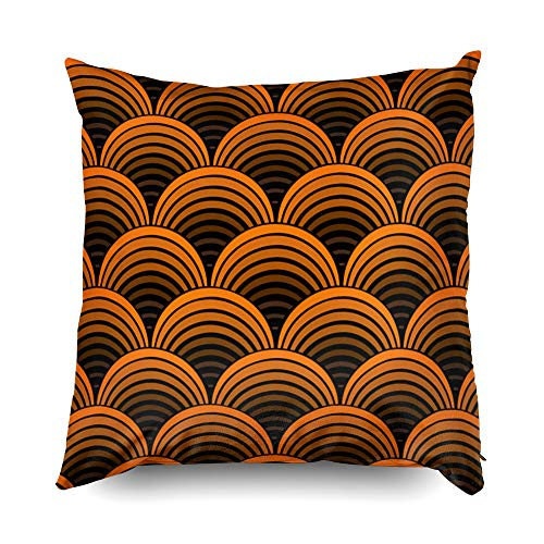 (Shorping Zippered Pillow Covers Pillowcases 18X18 Inch Halloween Geometric Seventies Brown Orange Pattern Decorative Throw Pillow Cover,Pillow Cases Cushion Cover for Home Sofa)