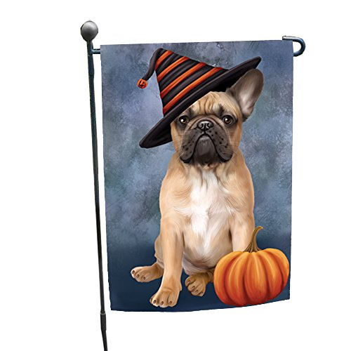 Happy Halloween French Bulldog Dog Wearing Witch Hat with Pumpkin Garden Flag GF321 -