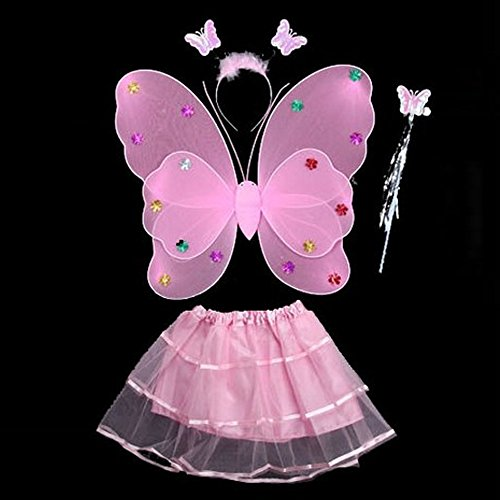4 Pcs Wings Wand Set for Baby Girls Dress up Birthday Halloween Party Favor Gift (pink)