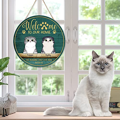 Wooden Front Door Welcome Sign We Hope You Like Dogs & Cats Printed Welcome Door, Wooden Porch Decoration for Farmhouse (B)