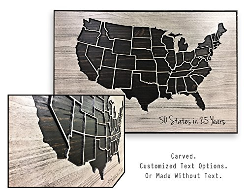- Gift for someone who travels, US Map, Push Pin Map, Map to track travels, Mark Locations, Mark cities, US Map with State Lines, Carved, 3D Wall Art, Wood Wall Art, Custom text