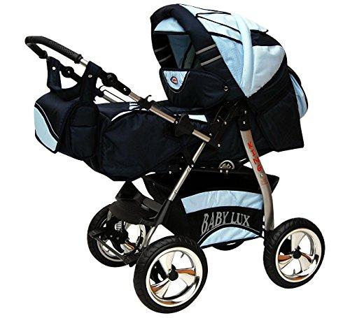 Lux4kids Trío Cochecito 3 in 1 Silla de paseo ruedas fijas + capazo + silla para coche VIP Hecho en Europa Accesorios opcionales iCaddy azul claro & azul: ...