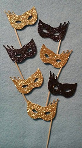 Glitter Masquerade Masks Cupcake Toppers 24 pcs, New Year's Party Toothpicks by Little Factory Crafts