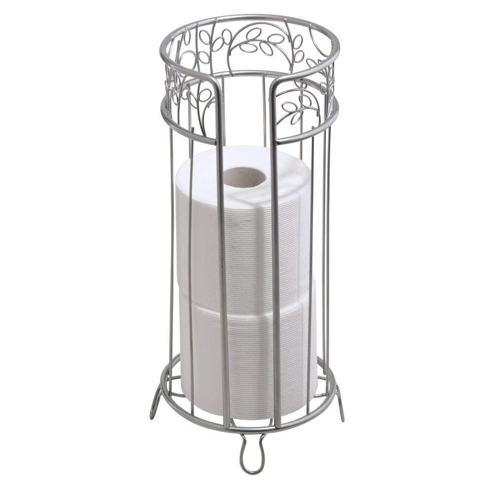 InterDesign Twigz Free Standing Toilet Paper Roll Holder for Bathroom Storage - Silver 77286