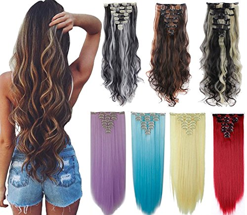 8Pcs 18 Clips 17-26 Inch Curly Straight Full Head Clip in on Hair Extensions Women Lady Hairpiece,Ash Blonde Mix Bleach Blone#1,24 Inch-Curly ()