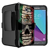 Untouchble Case for Samsung Galaxy J3 Emerge, Express Prime 2, Amp Prime 2, Sol 2 Case [Heavy Duty Clip] Dual Layer Hybrid Belt Clip Kickstand Cover Protector Rugged - Mexico Skull Flag