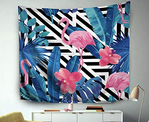 Asdecmoly Tapestry Printing Wall Hanging Tapestries for Living Room and Bedroom 60 L x50 W Inches Watercolor Tropic Pink Flamingos Orchid Trendy Blue Floral Plant Jungle Palm Art Printing Inhouse