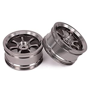 RCAWD Rc Wheel Rim W/O Tire 7 Pointed Star Aluminum Alloy for Rc 1/10 On-Road Racing Car Crawler HSP Axial Wltoys Himoto HPI Traxxas Redcat 2Pcs(Titanium)