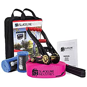 Slackline Industries 50' Base Line Starter Kit with Ratchet, Tree Protectors, Neon Pink - Zero Waste