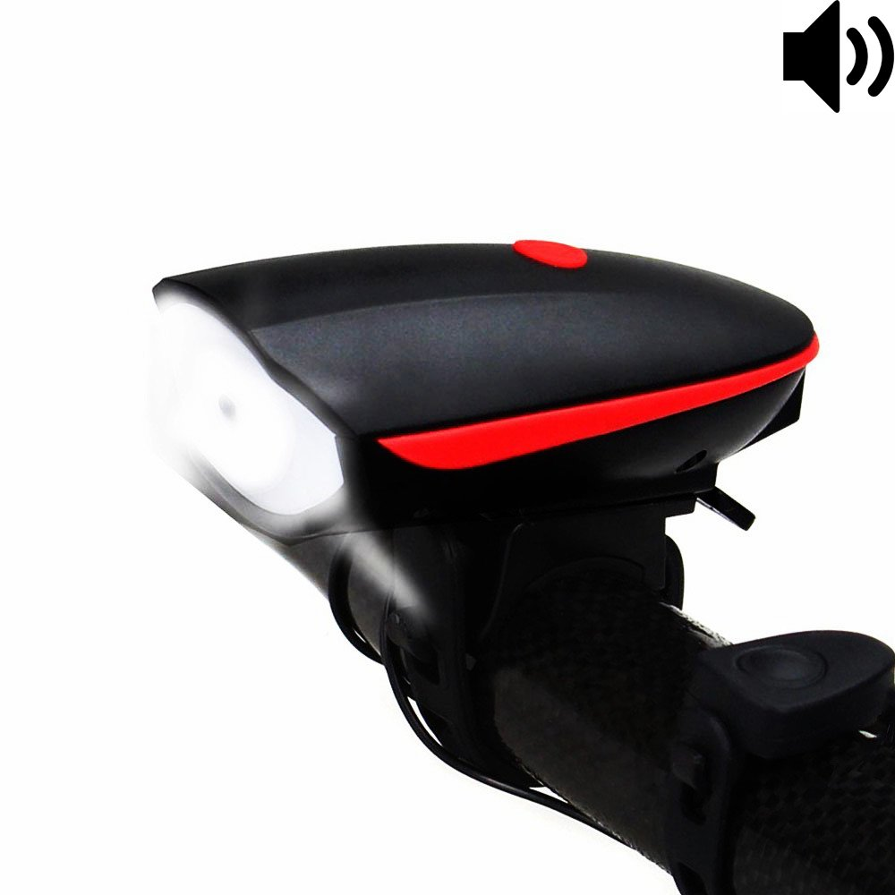 Fineed Bike Light Bicycle Light USB Bike Headlight with Super Loud Bike Horn 120DB Waterproof Bike Light 3 Lighting Modes 5 Horn Sound Excellent for Bicycles & Road Easy to Install &Release