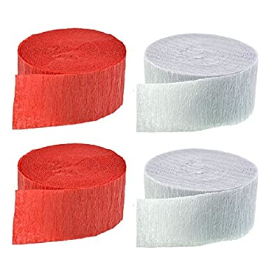 Red and White Crepe Paper Streamers (2 Rolls Each Color) MADE IN USA!: Toys & Games
