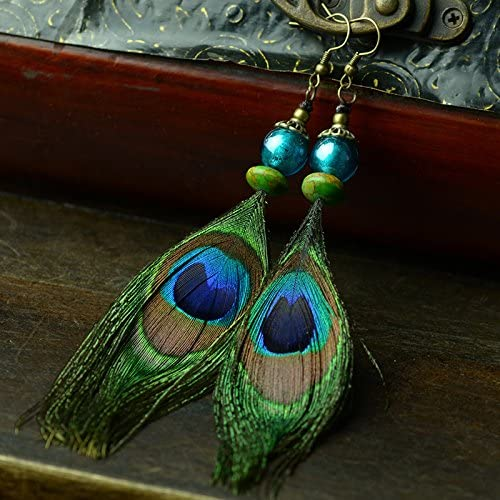 Peacock Feather Earrings by Captivating Capricorn Boho Chic Style Earrings Genuine Peacock Feathers with Gold Hypoallergenic Ear Wires