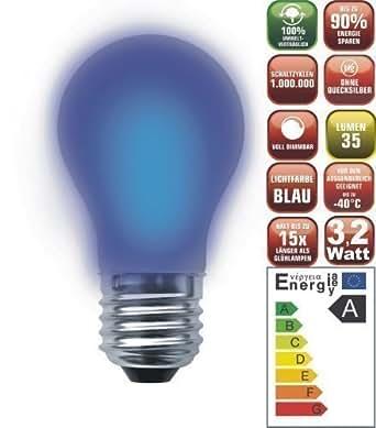 Lámpara de Bajo Consumo Clara y Elegante Bombilla Incandescente Led Azul (3,2 vatios, 80 ledes, E27, intensidad regulable, color azul)