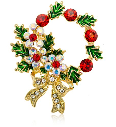 Akianna Gold-tone Swarovski Element Crystals Christmas Wreath Pin - Swarovski Wreath