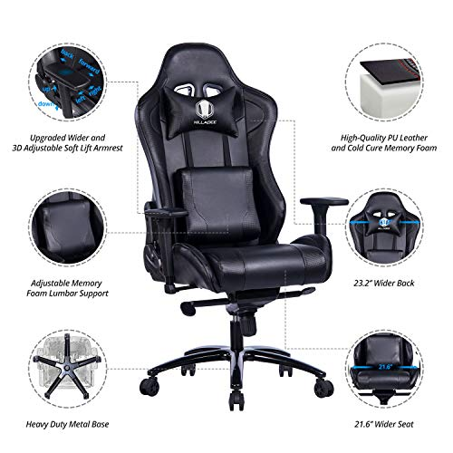 KILLABEE Big and Tall Gaming Chair with Metal Base - Ergonomic Leather Racing Computer Chair High-Back Office Desk Chair with Adjustable Memory Foam Lumbar Support and Headrest, Black by KILLABEE (Image #3)