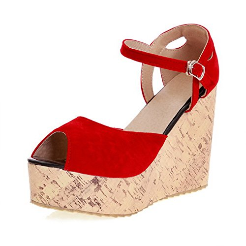 Suede WeenFashion Imitated Wedges Heels Buckle Platforms Solid High Peep Toe Women's Red amp; SqwTxqHF