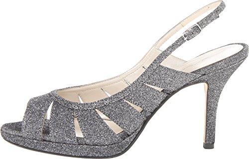 Caparros Mujeres Karena Glitter Vestido Peep-toe Heels Black Grossgrain