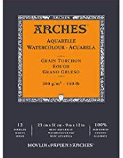 "Arches Watercolor Paper 140 lb. Rough 12 Sheet Pad 9x12"""