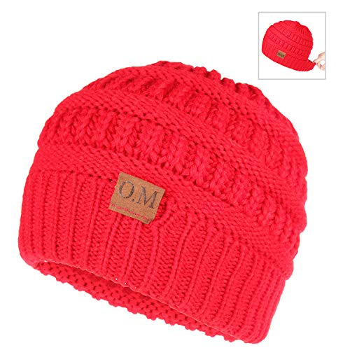 0232ab075 OMECHY Womens Winter Beanie Hat Knitted Slouchy Cap Messy Bun Ponytail  Beanie Wool Warm Daily Skull Cap Red