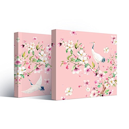 2 Panel Square Watercolor Style Painting of Cranes and Flowers on Pink Background x 2 Panels