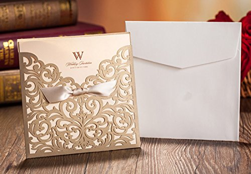 WISHMADE-50-Count-Square-Laser-Cut-Invitations-Cards-Kits-Gold-for-Wedding-Birthday-Bridal-Shower-with-Ribbon-Envelopes-Printable-Beige-Tri-Fold-Paper