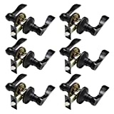 Probrico Keyless Door Lever Handles Bedroom or Bathroom Privacy Leversets Oil Rubbed Bronze Lockset 6 Pack