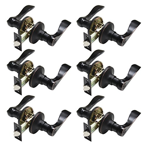Lever Set Oil Rubbed Bronze - Probrico Keyless Door Lever Handles Bedroom or Bathroom Privacy Leversets Oil Rubbed Bronze Lockset 6 Pack