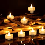 Micandle 24 Pack Battery Timer Tea Lights,6 Hours on and 18 Hours Off in 24 Hours Cycle,LED+PP,No fire hazards or burning risks,Warm Flicker Flameless Votive Candles for Wedding Party,1.4 x 1.4 Inch