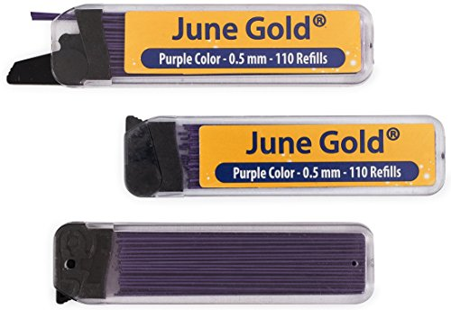 Zebra Colored Pencil - June Gold 330 Purple Colored Lead Refills, 0.5 mm, Fine Thickness for Delicate/Gentle Use with Convenient Dispensers