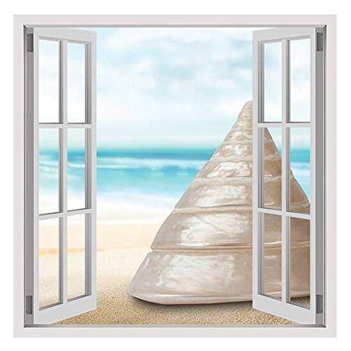 Alonline Art - Sea Snail In His Shell by Fake 3D Window | print on 100% cotton canvas | Ready to frame (Rolled) | 31