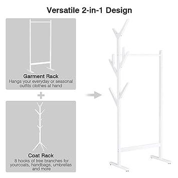 LANGRIA Perchero de bambú de un Solo riel con 8 Perchas ...