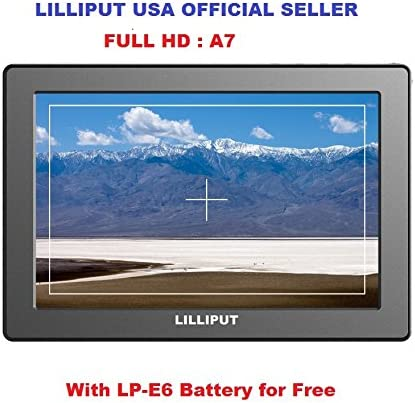 LILLIPUT 7 Full HD A7 Camera-TOP Monitor 1920x1200 Pixel Zoom with LP-E6 Battery and Charger Full HD Resolution Peaking 1000:1 high Contrast 500cd//m/² high Brightness