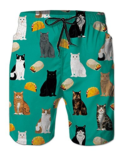 Leapparel 3D Patterned Men's Swim Trunks Taco Yellow Grey Cat Burritos Pancake Teal Blue Quick Dry Vintage Retro Knee Length Sports Running Beach Shorts Daily Casual Wear with Mesh Lining XL