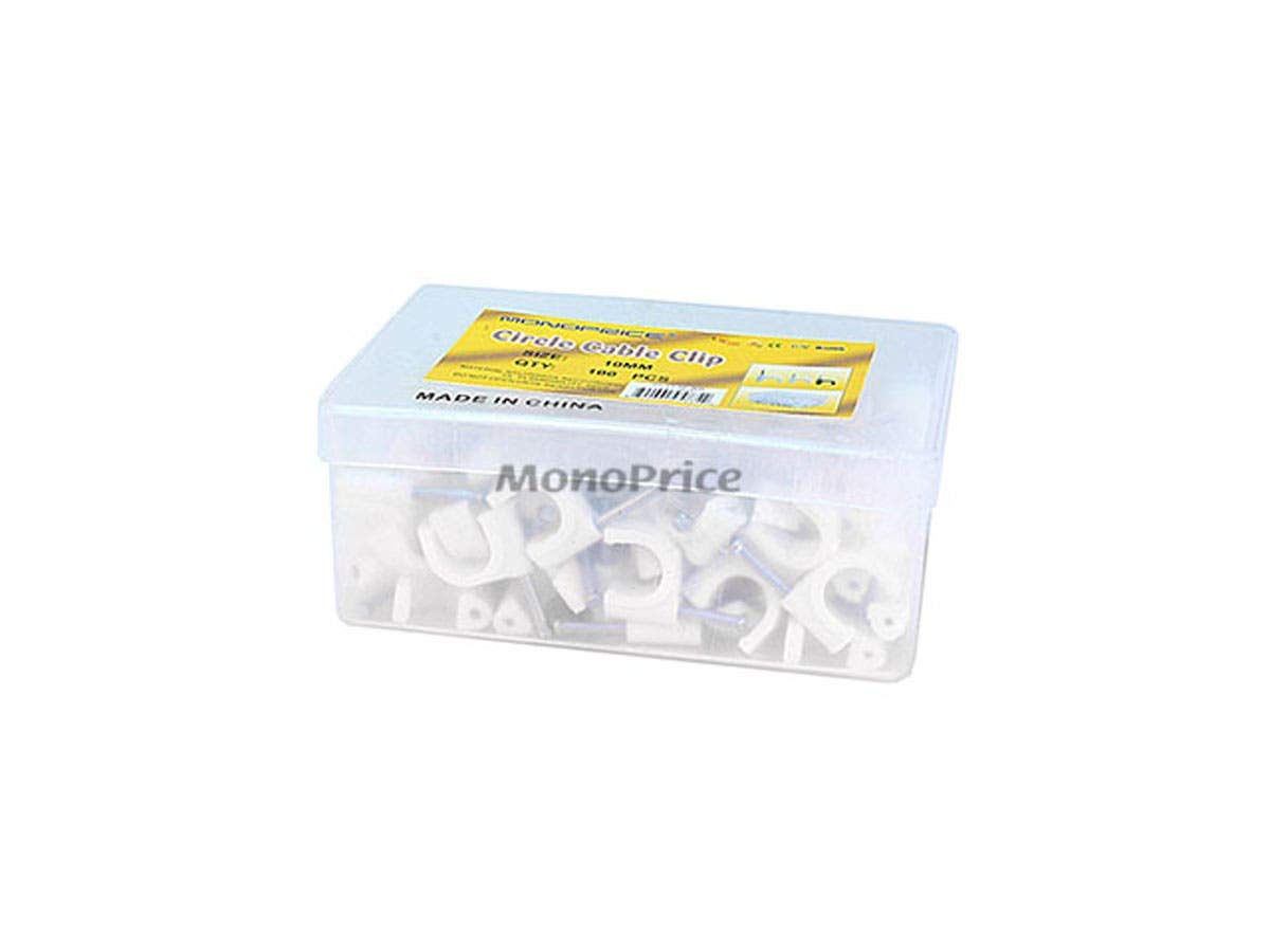 Monoprice Circle cable clips with steel nail, 10mm, 100pcs/Pack