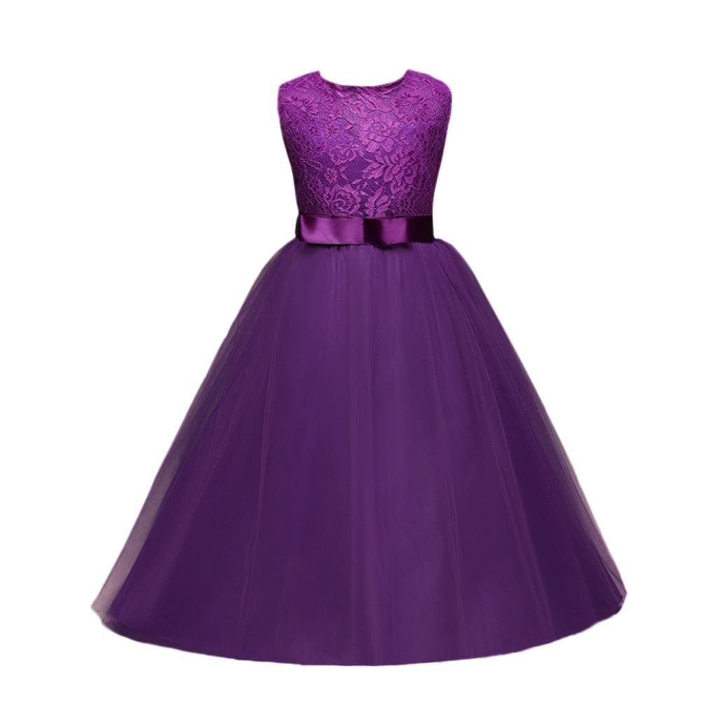 Robe Bébé Fille,LMMVP Robe Sans Manches pour Fille Princesse Formel Reconstitution Historique Mariage de Vacances Robe de Demoiselle d'honneur 4-12T (120(4-5T), Mode rouge)
