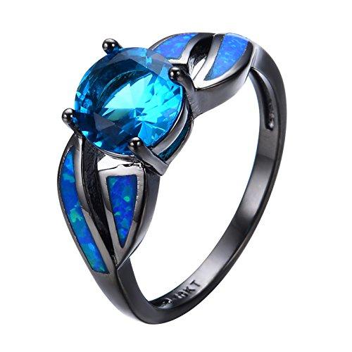 Antique Claw Rings Ocean Blue Fire Opal Stone Light Blue ...