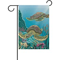 Eaiferly Sea Turtles Pattern Garden Flag Double-Sized Print Decorative Holiday Home Flag, 12 x 18 Inches