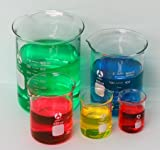 Graduated Bomex Beaker Set 50 100 250 600 and 1000ml glass