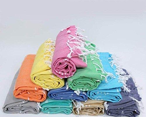 Paramus SALE Set of 6 XL Turkish Cotton Peshtemal Towels, Hamam Towel Wrap Pareo Fouta Throw Peshtemal Pestemal Sheet Blanket, Black,Grey,Navy,Blue,Turquoise,Red,Yellow,Purple,Pink (Hamam Turkish Bath)