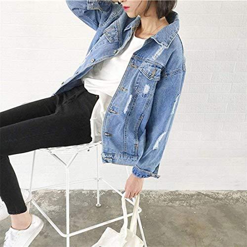 Blau Bavero Anteriori Giaccone Scavare Style Donna Single Giacca Tasche Manica Outerwear Casual Lunga Jeans Elegante Ragazze Autunno Di Breasted Giacche Moda Festa Giovane gBpOwZnxq